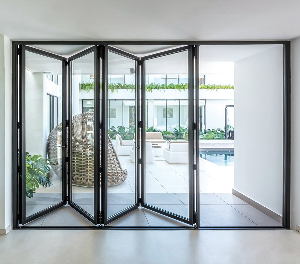 Cortizo Bifold Doors in aluminium for durability and strength. Easy to install and maintain.