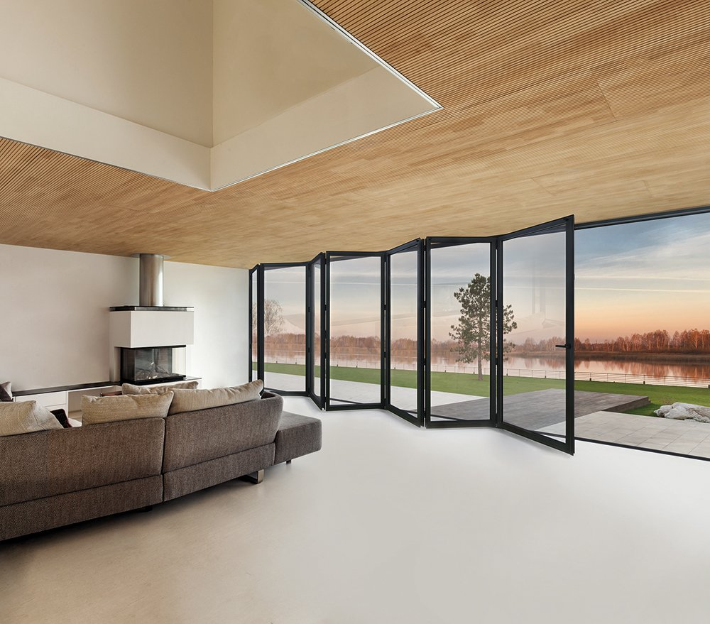 Cortizo Bifold Doors in 7 panel aluminium for durability and strength. Easy to install and maintain.